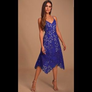 Lulus One Wish Royal Blue Lace Midi Dress Size M